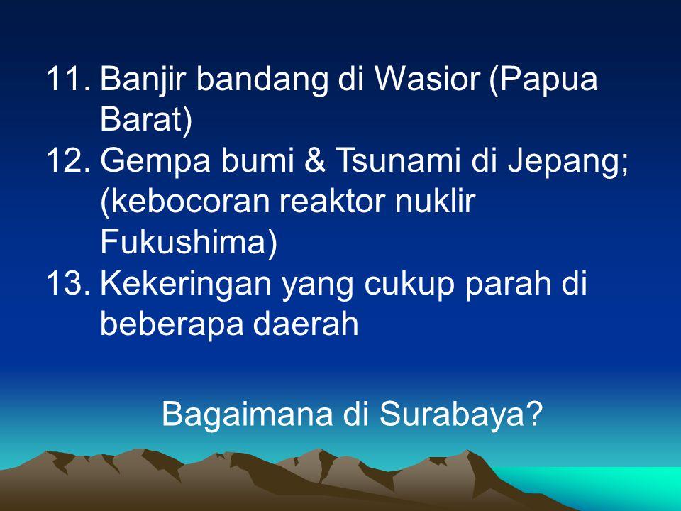 11.Banjir bandang di Wasior (Papua Barat) 12.Gempa bumi & Tsunami di Jepang; (kebocoran reaktor nuklir Fukushima) 13.Kekeringan yang cukup parah di be