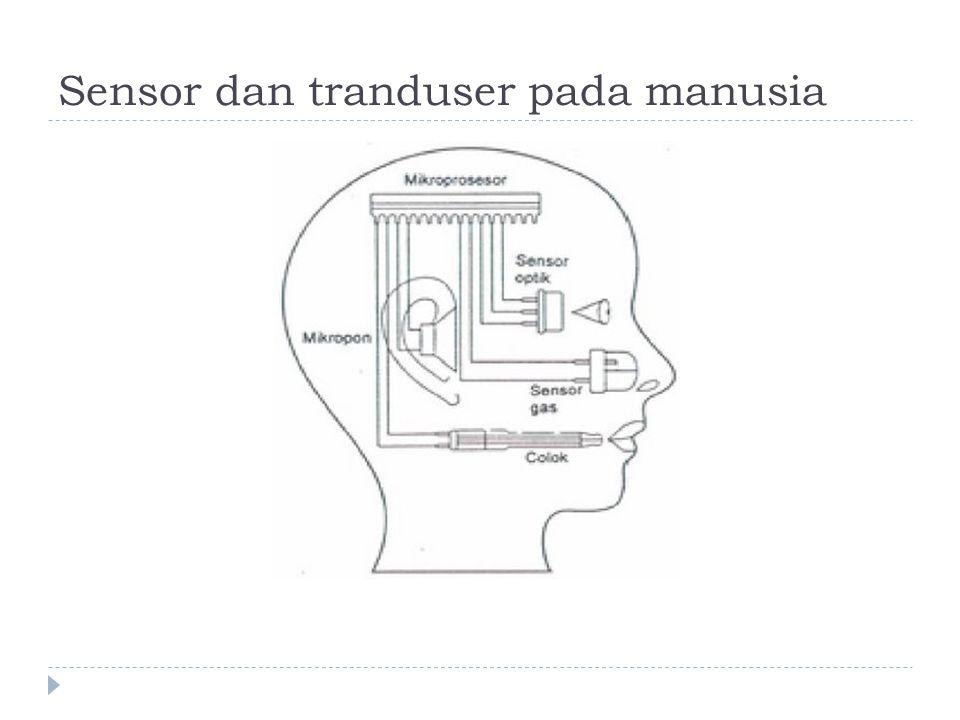 Definisi Sensor  Menurut sharon (1982), sensor adalah suatu peralatan yang berfungsi untuk mendeteksi gejala-gejala atau sinyal- sinyal yang berasal dari perubahan suatu energi :  Listrik  Fisika  Kimia  Bilogi  mekanik Kamera sebagai sensor pengelihatan Telinga sebagai sensor pendengan LDR sebagai sensor cahaya