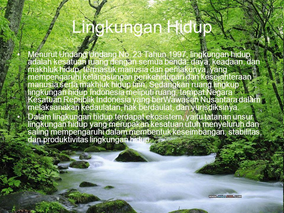 Unsur-unsur Lingkungan Hidup Sumber daya manusia Sumber daya alam hayati.Dibedakan menjadi: –Flora –Fauna –Ekosistem Sumber daya alam non hayati: –Sumber daya air –Sumber daya lahan –Sumber daya mineral –Baham tambang Tekhnologi sumber daya alam buatan