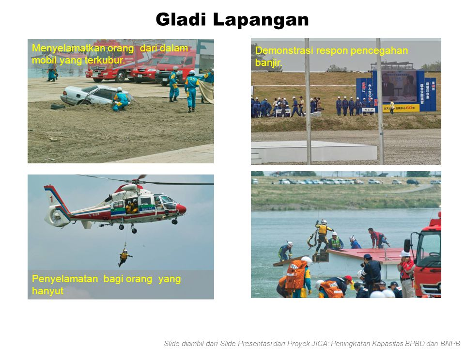 Gladi Lapangan Menyelamatkan orang dari dalam mobil yang terkubur. Penyelamatan bagi orang yang hanyut Demonstrasi respon pencegahan banjir. Slide dia