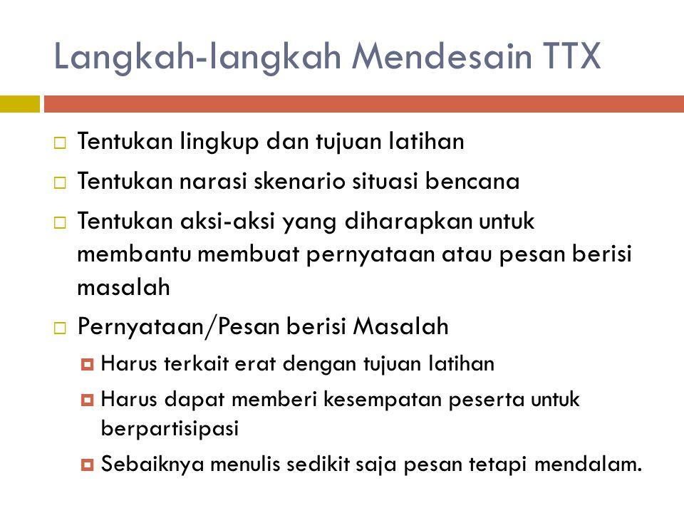 Langkah-langkah Mendesain TTX  Tentukan lingkup dan tujuan latihan  Tentukan narasi skenario situasi bencana  Tentukan aksi-aksi yang diharapkan un
