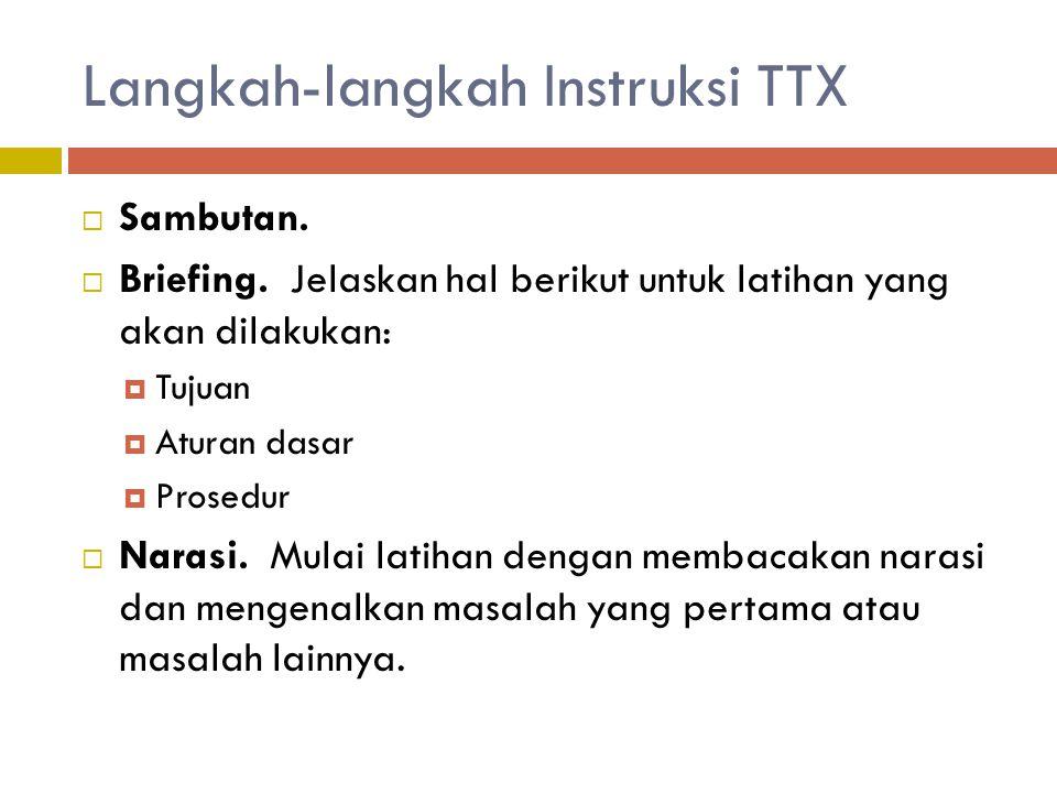 Langkah-langkah Instruksi TTX  Sambutan.  Briefing. Jelaskan hal berikut untuk latihan yang akan dilakukan:  Tujuan  Aturan dasar  Prosedur  Nar
