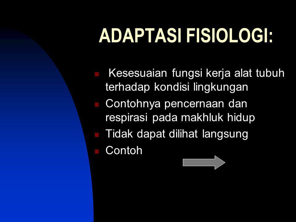 ADAPTASI FISIOLOGI: Kesesuaian fungsi kerja alat tubuh terhadap kondisi lingkungan Contohnya pencernaan dan respirasi pada makhluk hidup Tidak dapat d