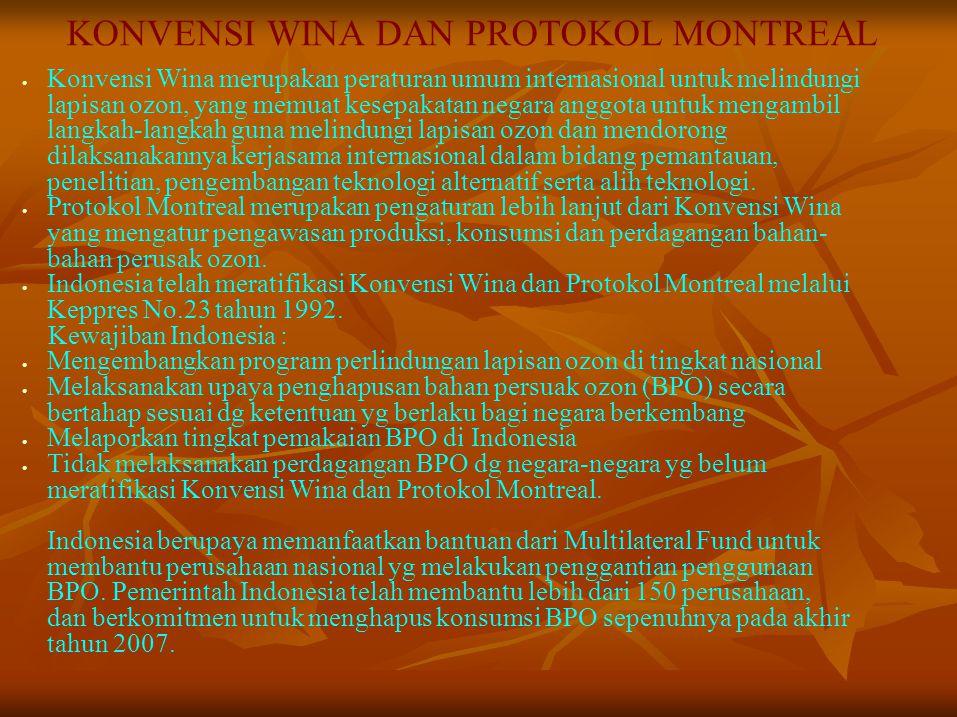 KONVENSI WINA DAN PROTOKOL MONTREAL Konvensi Wina merupakan peraturan umum internasional untuk melindungi lapisan ozon, yang memuat kesepakatan negara