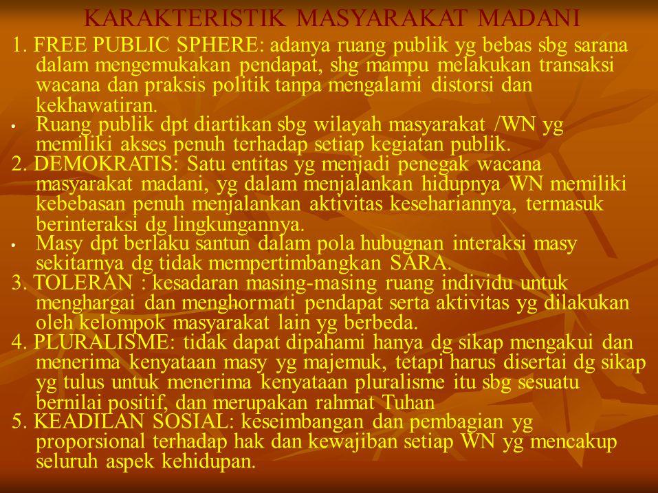 KARAKTERISTIK MASYARAKAT MADANI 1. FREE PUBLIC SPHERE: adanya ruang publik yg bebas sbg sarana dalam mengemukakan pendapat, shg mampu melakukan transa