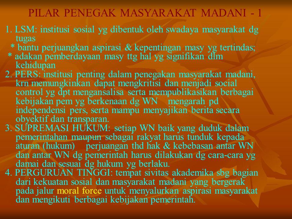 PILAR PENEGAK MASYARAKAT MADANI - 1 1. LSM: institusi sosial yg dibentuk oleh swadaya masyarakat dg tugas * bantu perjuangkan aspirasi & kepentingan m