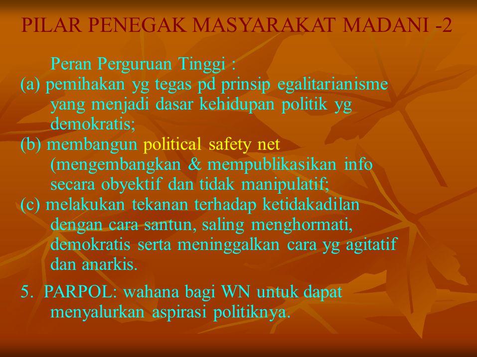 PILAR PENEGAK MASYARAKAT MADANI -2 Peran Perguruan Tinggi : (a) pemihakan yg tegas pd prinsip egalitarianisme yang menjadi dasar kehidupan politik yg