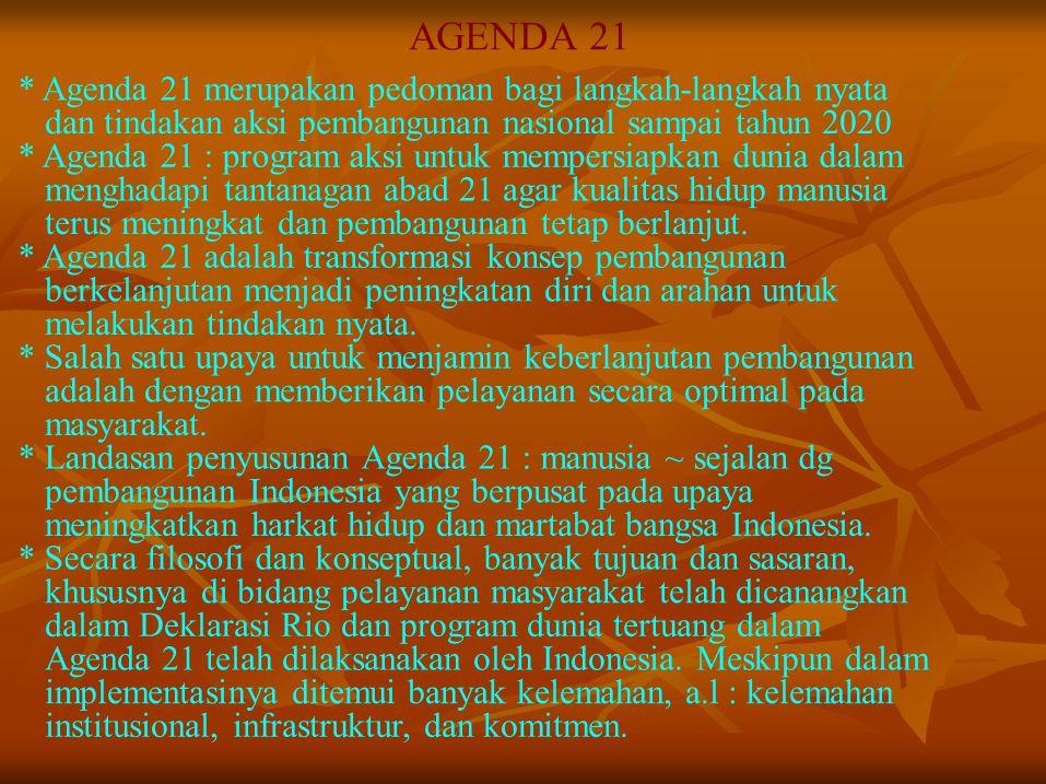 AGENDA 21 * Agenda 21 merupakan pedoman bagi langkah-langkah nyata dan tindakan aksi pembangunan nasional sampai tahun 2020 * Agenda 21 : program aksi