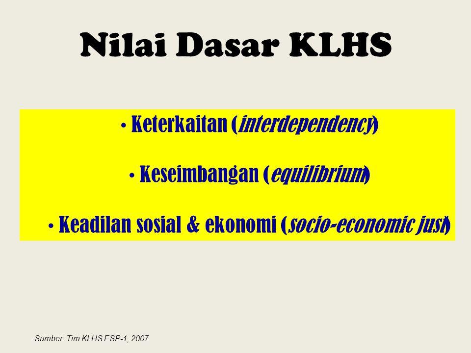 Nilai Dasar KLHS Keterkaitan (interdependency) Keseimbangan (equilibrium) Keadilan sosial & ekonomi (socio-economic just) Sumber: Tim KLHS ESP-1, 2007