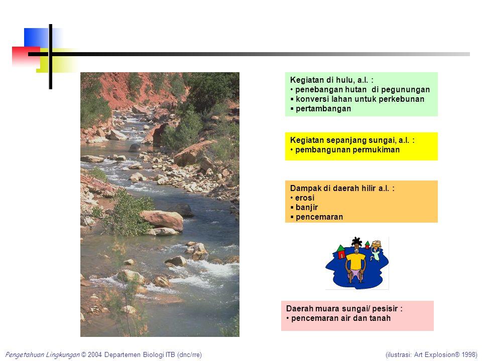 Contoh: Suatu daerah aliran sungai (DAS) terdiri dari berbagai bagian yang berbeda. Kegiatan dan/atau kerusakan yang terjadi di daerah hulu sungai aka