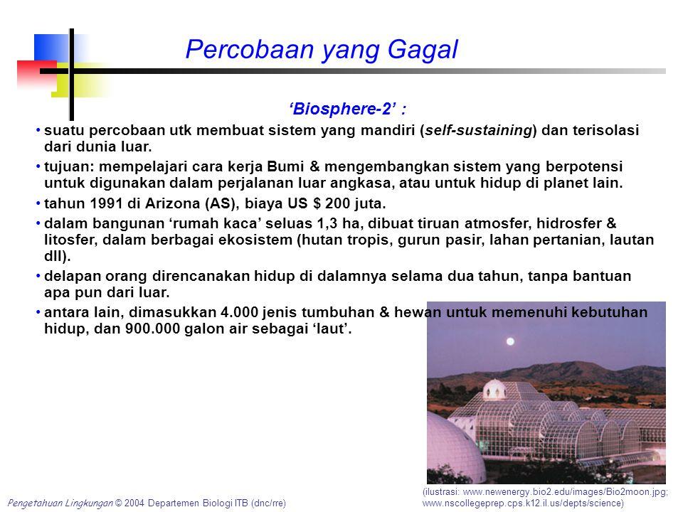 Percobaan yang Gagal (ilustrasi: www.newenergy.bio2.edu/images/Bio2moon.jpg; www.nscollegeprep.cps.k12.il.us/depts/science) Pengetahuan Lingkungan © 2