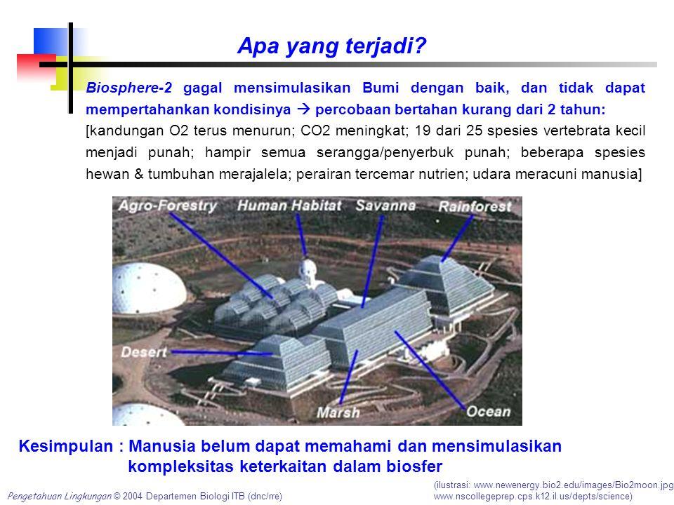 Pengetahuan Lingkungan © 2004 Departemen Biologi ITB (dnc/rre) Apa yang terjadi? Biosphere-2 gagal mensimulasikan Bumi dengan baik, dan tidak dapat me