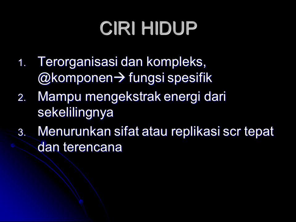 CIRI HIDUP 1.Terorganisasi dan kompleks, @komponen  fungsi spesifik 2.