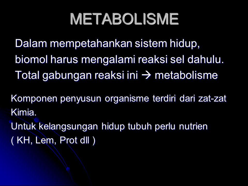 METABOLISME Dalam mempetahankan sistem hidup, biomol harus mengalami reaksi sel dahulu.