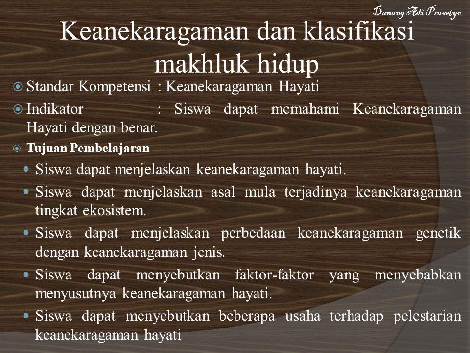  Standar Kompetensi : Keanekaragaman Hayati  Indikator : Siswa dapat memahami Keanekaragaman Hayati dengan benar.