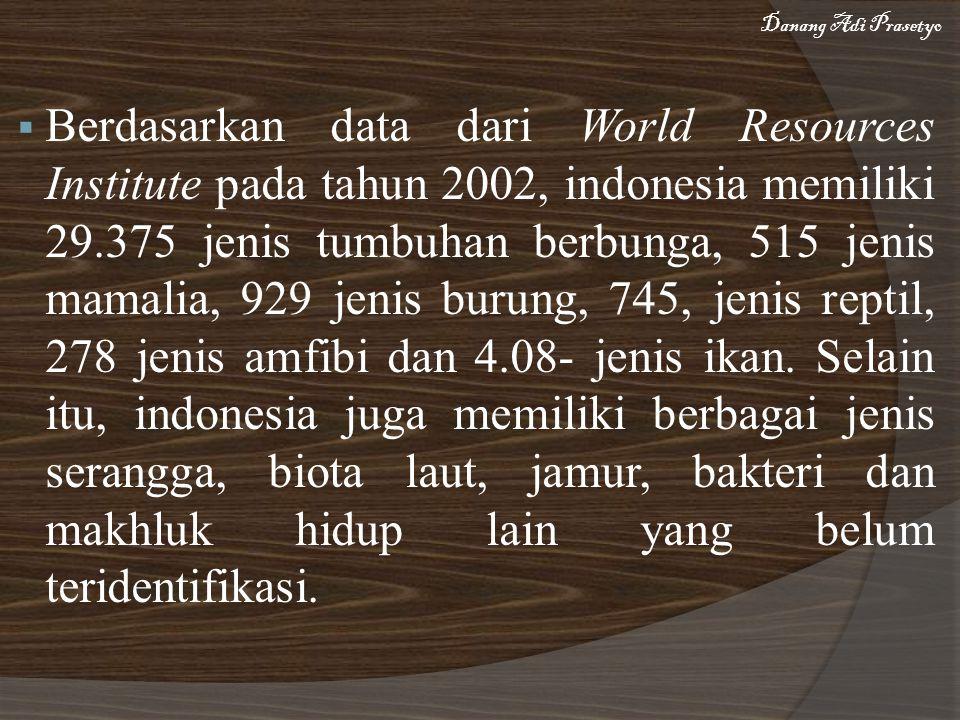  Berdasarkan data dari World Resources Institute pada tahun 2002, indonesia memiliki 29.375 jenis tumbuhan berbunga, 515 jenis mamalia, 929 jenis burung, 745, jenis reptil, 278 jenis amfibi dan 4.08- jenis ikan.