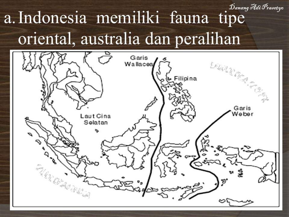 a.Indonesia memiliki fauna tipe oriental, australia dan peralihan Danang Adi Prasetyo