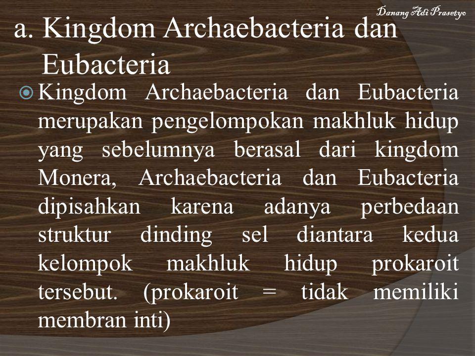 a. Kingdom Archaebacteria dan Eubacteria  Kingdom Archaebacteria dan Eubacteria merupakan pengelompokan makhluk hidup yang sebelumnya berasal dari ki