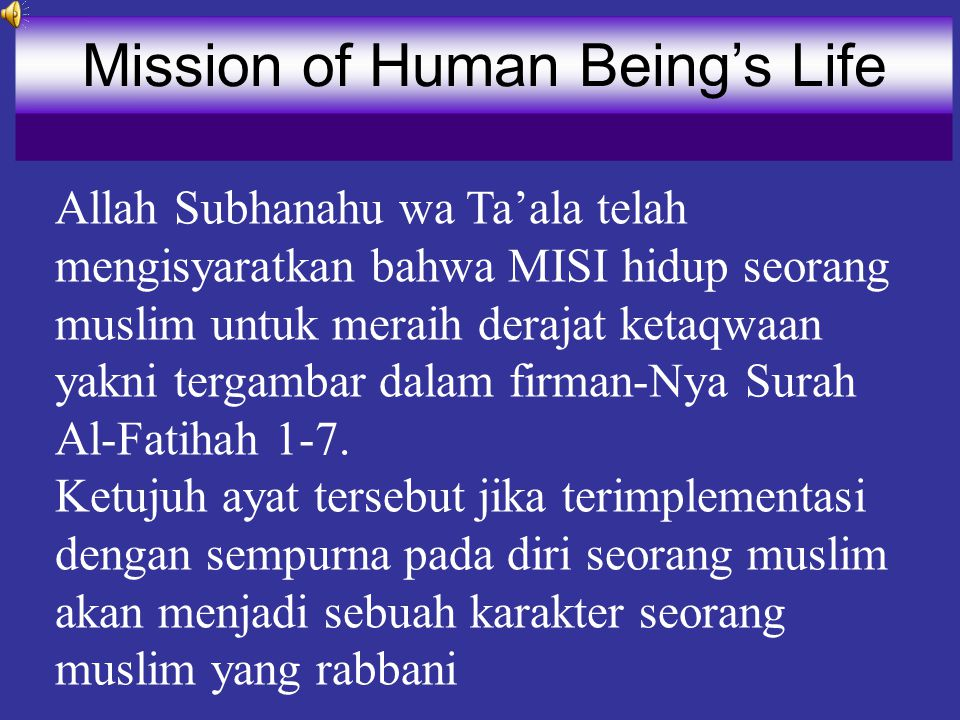 In the name of Allah, Most Gracious, Most Merciful. The First Mission
