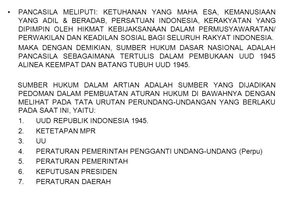 PANCASILA MELIPUTI: KETUHANAN YANG MAHA ESA, KEMANUSIAAN YANG ADIL & BERADAB, PERSATUAN INDONESIA, KERAKYATAN YANG DIPIMPIN OLEH HIKMAT KEBIJAKSANAAN