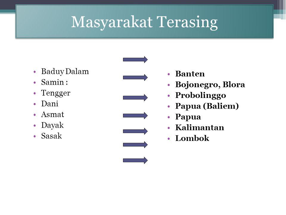 Masyarakat Terasing Baduy Dalam Samin : Tengger Dani Asmat Dayak Sasak Banten Bojonegro, Blora Probolinggo Papua (Baliem) Papua Kalimantan Lombok