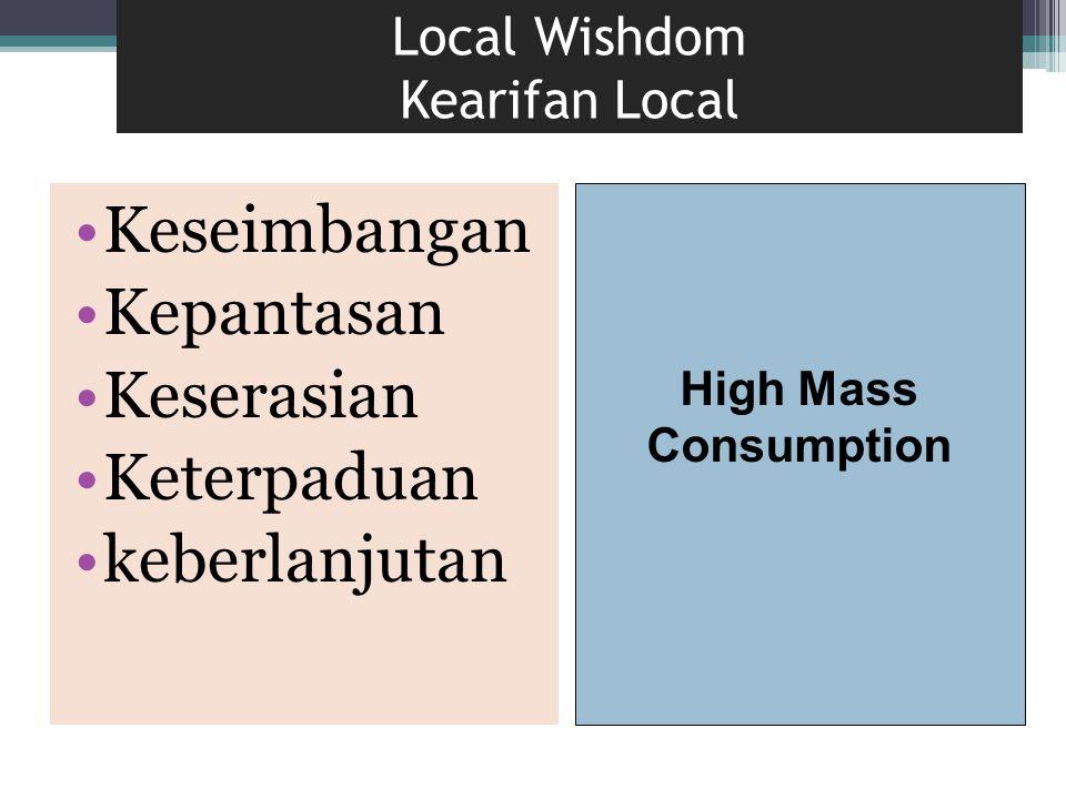 Local Wishdom Kearifan Local Keseimbangan Kepantasan Keserasian Keterpaduan keberlanjutan High Mass Consumption