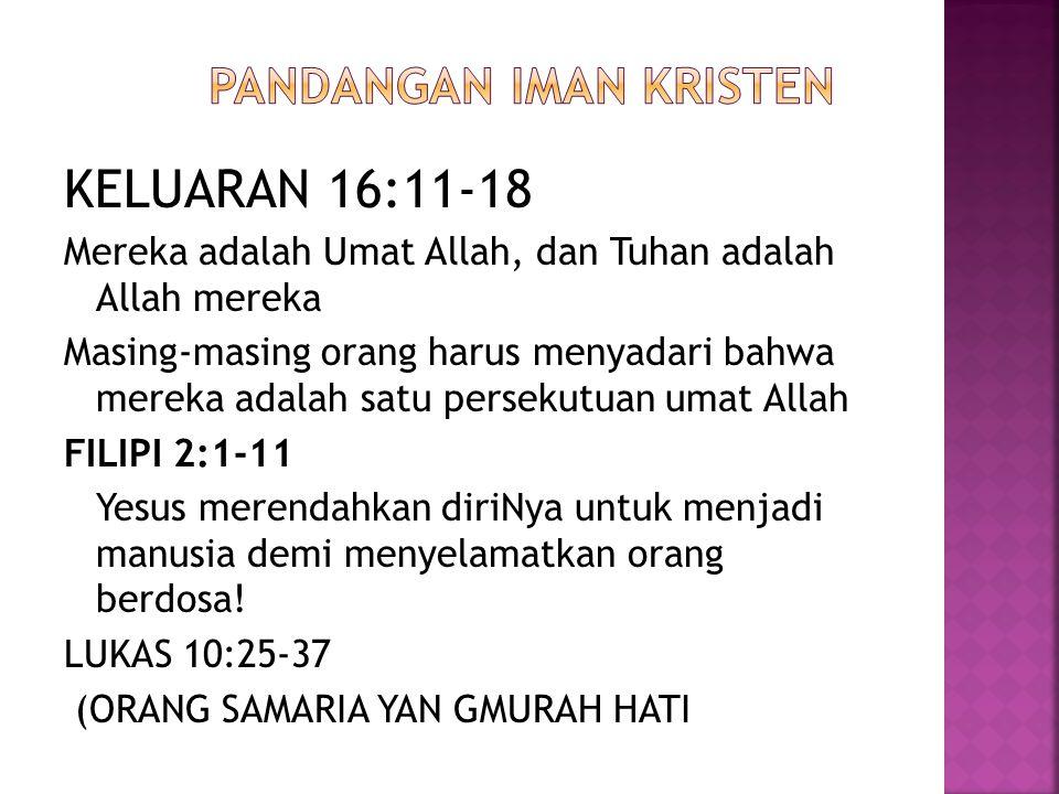 KELUARAN 16:11-18 Mereka adalah Umat Allah, dan Tuhan adalah Allah mereka Masing-masing orang harus menyadari bahwa mereka adalah satu persekutuan uma