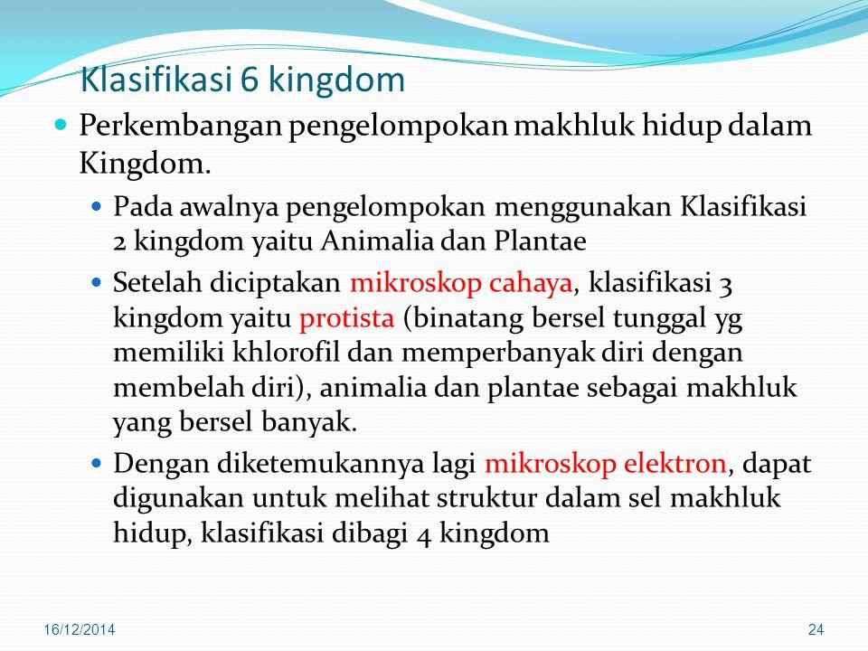 Klasifikasi 6 kingdom Perkembangan pengelompokan makhluk hidup dalam Kingdom. Pada awalnya pengelompokan menggunakan Klasifikasi 2 kingdom yaitu Anima