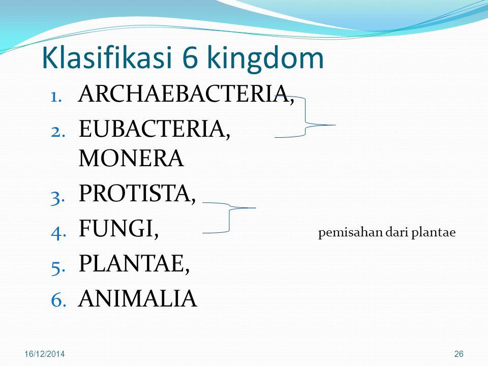 Klasifikasi 6 kingdom 1. ARCHAEBACTERIA, 2. EUBACTERIA, MONERA 3. PROTISTA, 4. FUNGI, pemisahan dari plantae 5. PLANTAE, 6. ANIMALIA 16/12/201426