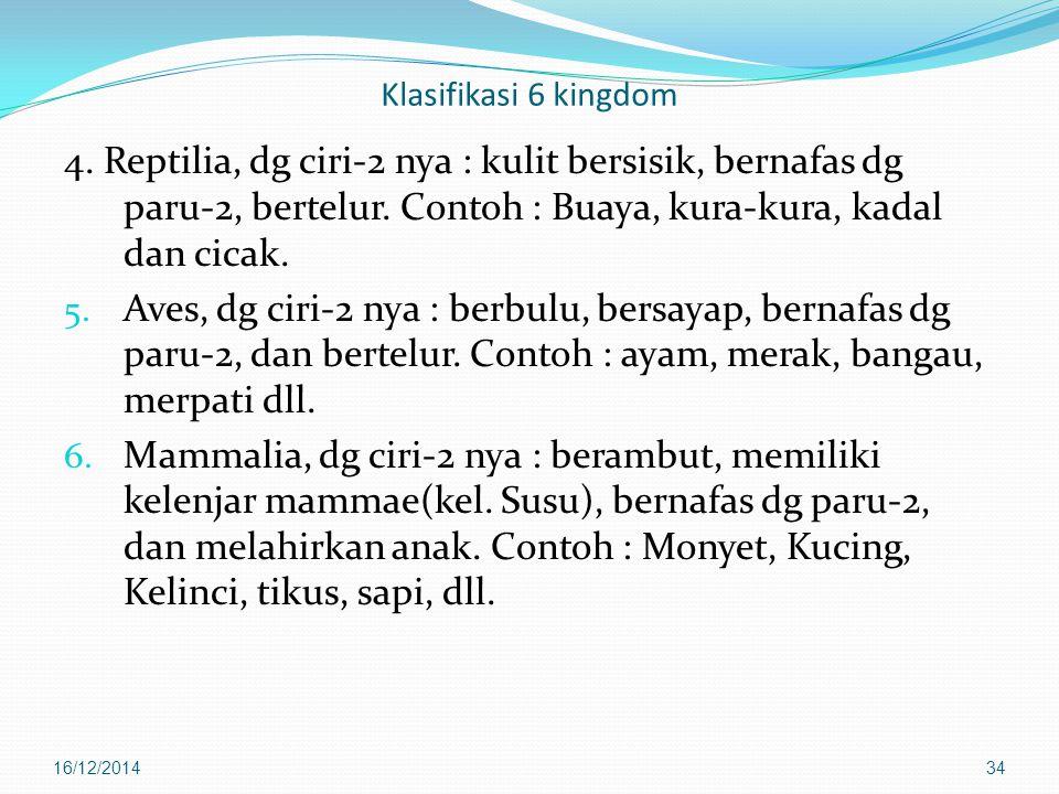 Klasifikasi 6 kingdom 4. Reptilia, dg ciri-2 nya : kulit bersisik, bernafas dg paru-2, bertelur. Contoh : Buaya, kura-kura, kadal dan cicak. 5. Aves,