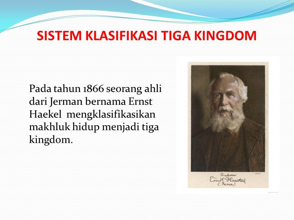 SISTEM KLASIFIKASI TIGA KINGDOM Pada tahun 1866 seorang ahli dari Jerman bernama Ernst Haekel mengklasifikasikan makhluk hidup menjadi tiga kingdom.