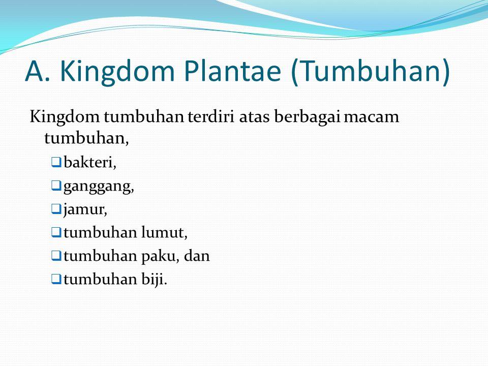 A. Kingdom Plantae (Tumbuhan) Kingdom tumbuhan terdiri atas berbagai macam tumbuhan,  bakteri,  ganggang,  jamur,  tumbuhan lumut,  tumbuhan paku