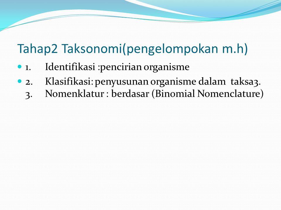 Tahap2 Taksonomi(pengelompokan m.h) 1. Identifikasi :pencirian organisme 2.Klasifikasi: penyusunan organisme dalam taksa3. 3.Nomenklatur : berdasar (B
