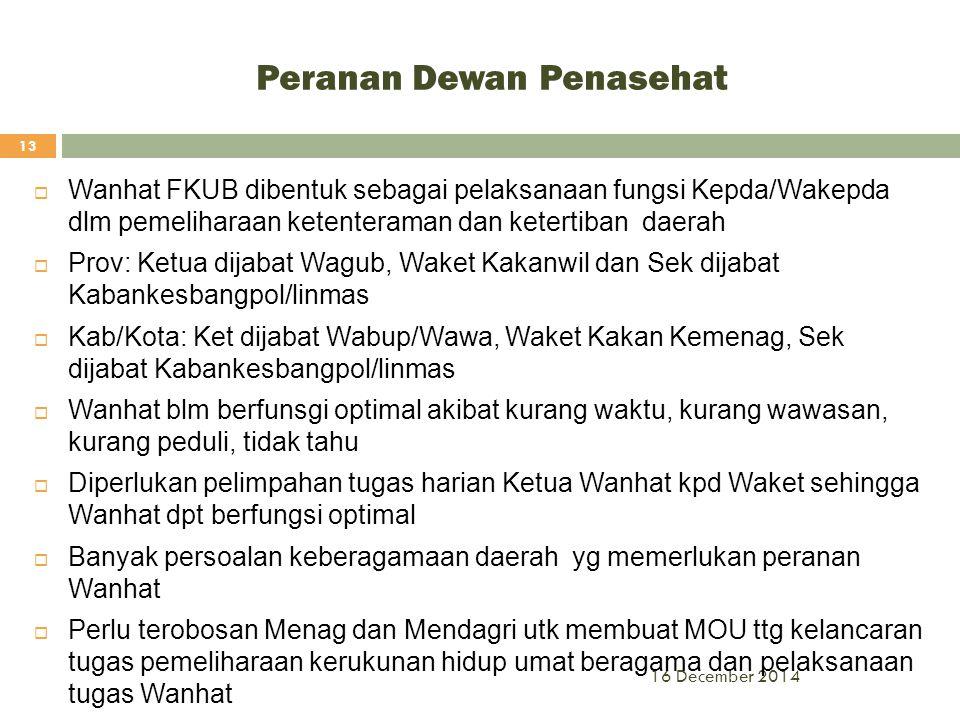 Peranan Dewan Penasehat 16 December 2014 13  Wanhat FKUB dibentuk sebagai pelaksanaan fungsi Kepda/Wakepda dlm pemeliharaan ketenteraman dan ketertib