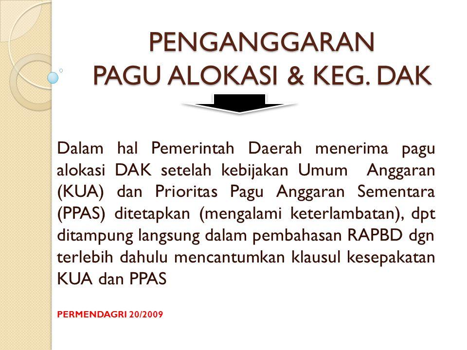 PENGANGGARAN PAGU ALOKASI & KEG.