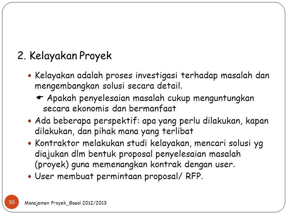 2. Kelayakan Proyek Kelayakan adalah proses investigasi terhadap masalah dan mengembangkan solusi secara detail.  Apakah penyelesaian masalah cukup m