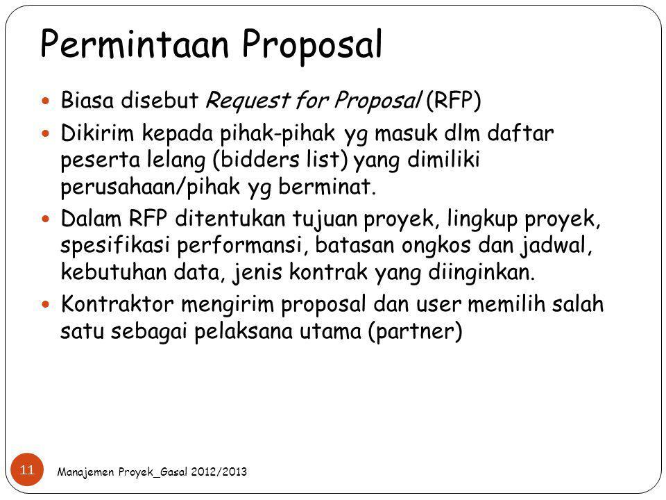 Permintaan Proposal Biasa disebut Request for Proposal (RFP) Dikirim kepada pihak-pihak yg masuk dlm daftar peserta lelang (bidders list) yang dimilik