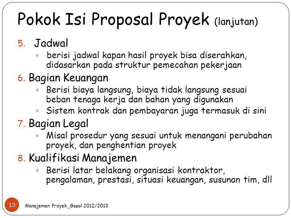 Pokok Isi Proposal Proyek (lanjutan) 5. Jadwal berisi jadwal kapan hasil proyek bisa diserahkan, didasarkan pada struktur pemecahan pekerjaan 6. Bagia