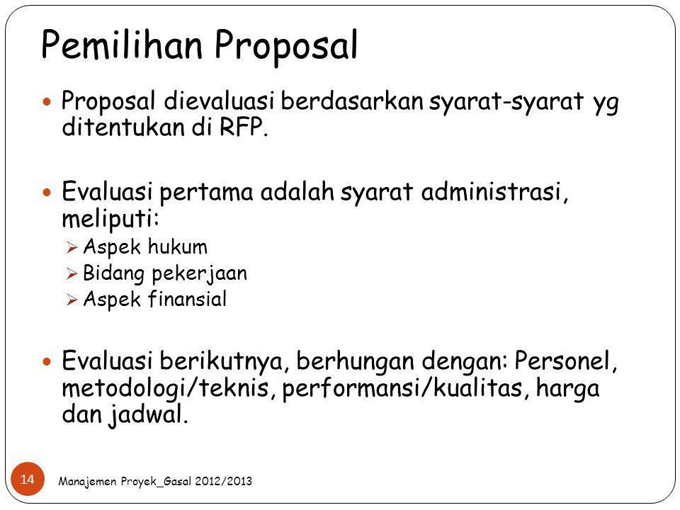 Pemilihan Proposal Proposal dievaluasi berdasarkan syarat-syarat yg ditentukan di RFP. Evaluasi pertama adalah syarat administrasi, meliputi:  Aspek