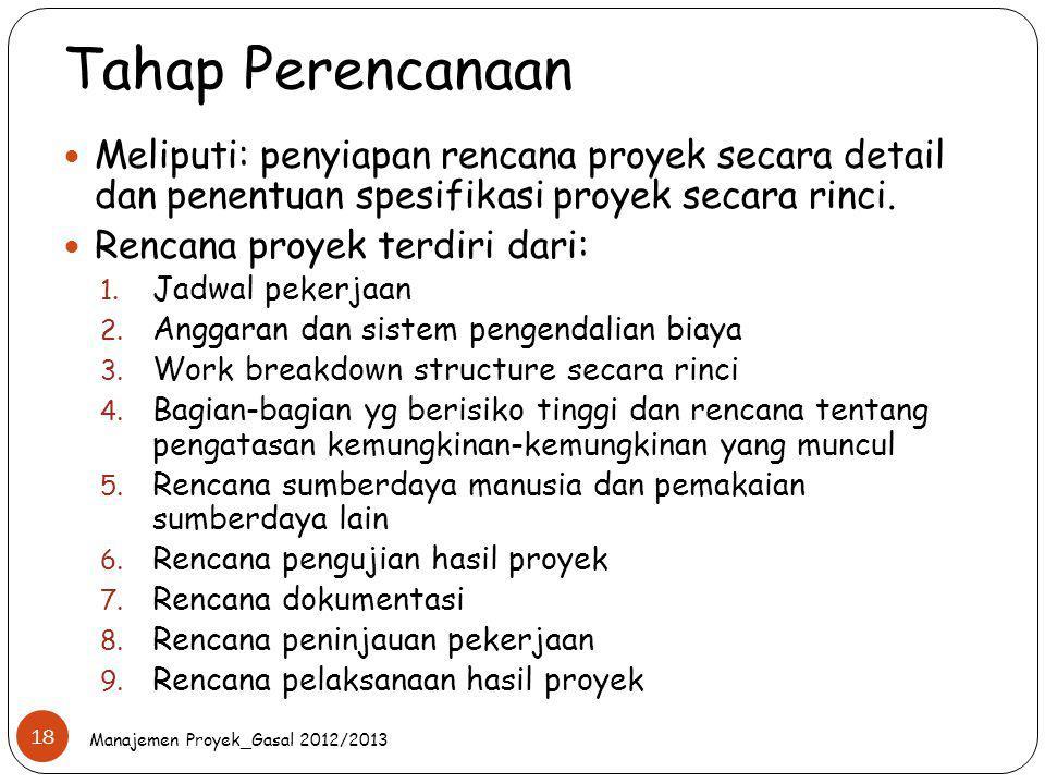 Tahap Perencanaan Meliputi: penyiapan rencana proyek secara detail dan penentuan spesifikasi proyek secara rinci. Rencana proyek terdiri dari: 1. Jadw
