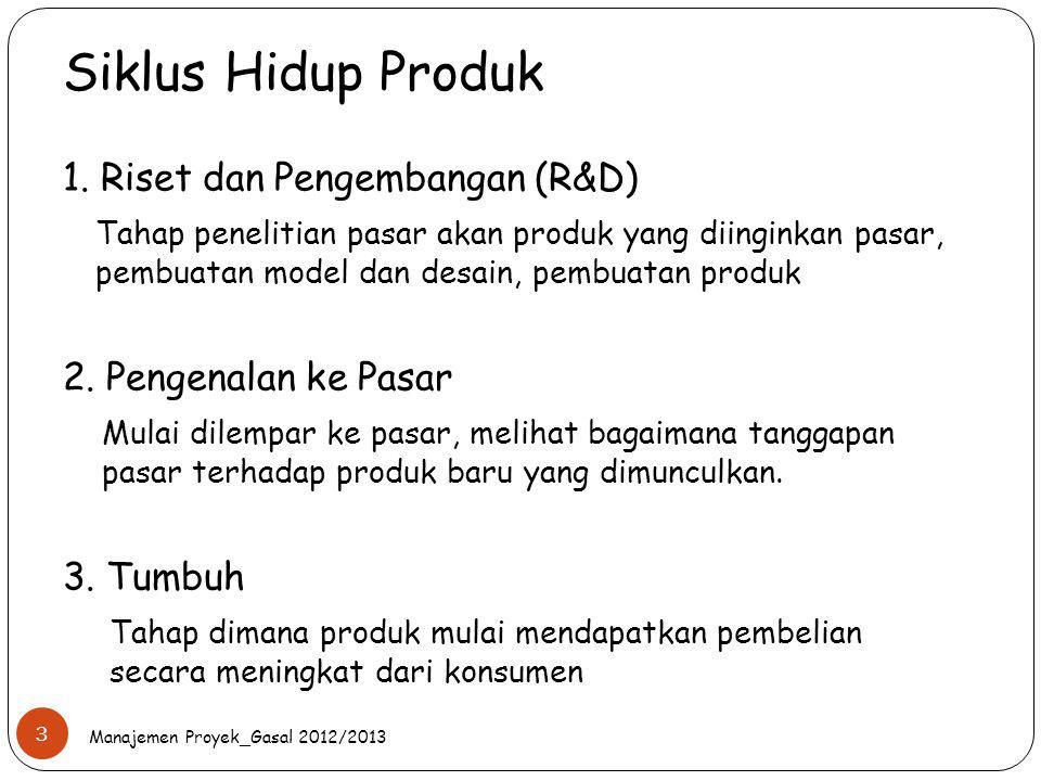 Siklus Hidup Produk Manajemen Proyek_Gasal 2012/2013 3 1. Riset dan Pengembangan (R&D) Tahap penelitian pasar akan produk yang diinginkan pasar, pembu