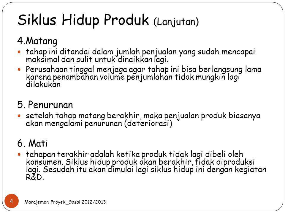 Siklus Hidup Produk (Lanjutan) Manajemen Proyek_Gasal 2012/2013 4 4.Matang tahap ini ditandai dalam jumlah penjualan yang sudah mencapai maksimal dan