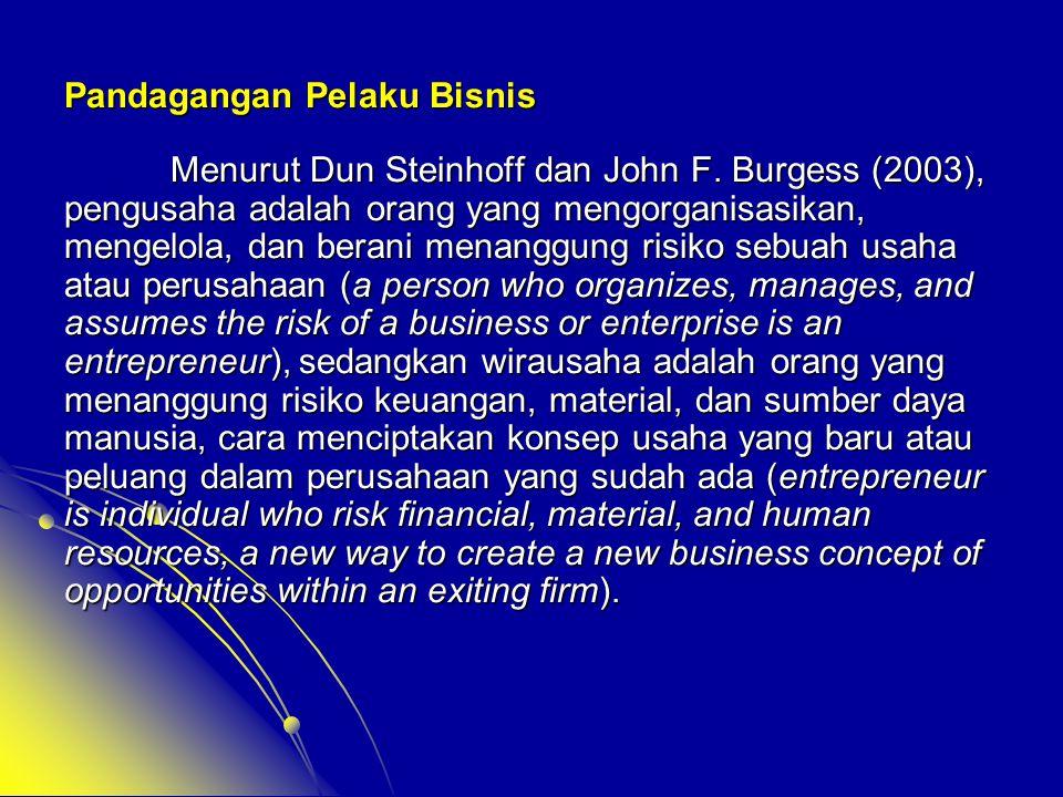 Pandagangan Pelaku Bisnis Menurut Dun Steinhoff dan John F. Burgess (2003), pengusaha adalah orang yang mengorganisasikan, mengelola, dan berani menan