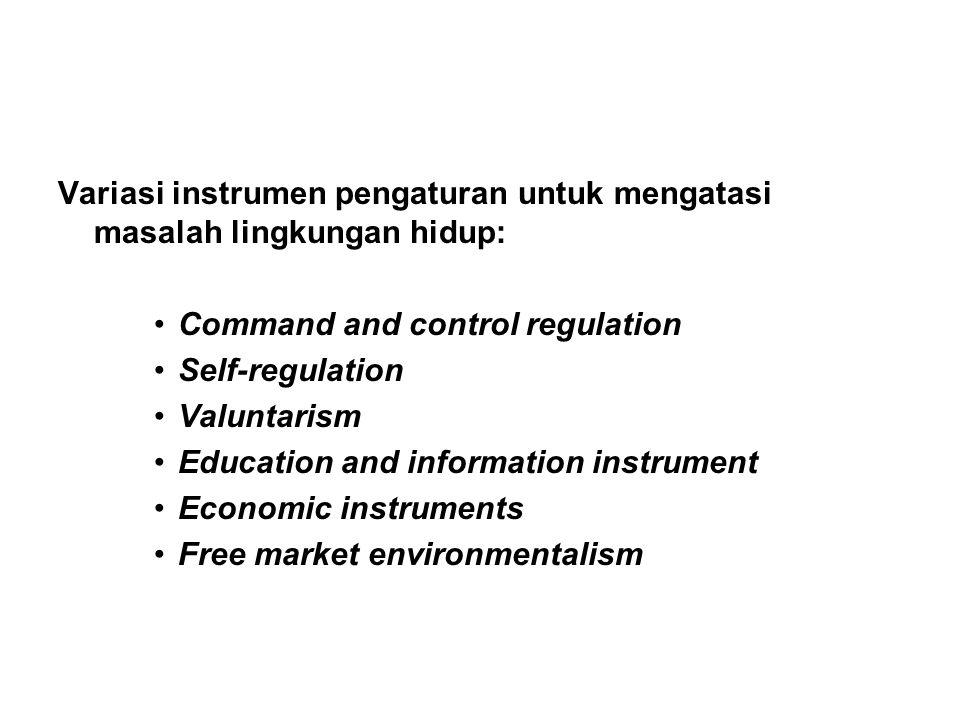 Variasi instrumen pengaturan untuk mengatasi masalah lingkungan hidup: Command and control regulation Self-regulation Valuntarism Education and information instrument Economic instruments Free market environmentalism