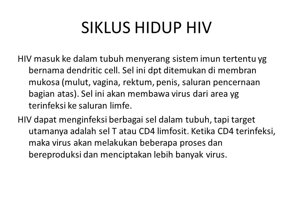 SIKLUS HIDUP HIV HIV masuk ke dalam tubuh menyerang sistem imun tertentu yg bernama dendritic cell. Sel ini dpt ditemukan di membran mukosa (mulut, va