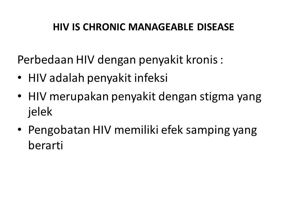 HIV IS CHRONIC MANAGEABLE DISEASE Perbedaan HIV dengan penyakit kronis : HIV adalah penyakit infeksi HIV merupakan penyakit dengan stigma yang jelek P
