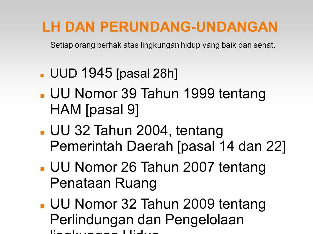 LH DAN PERUNDANG-UNDANGAN UUD 1945 [pasal 28h] UU Nomor 39 Tahun 1999 tentang HAM [pasal 9] UU 32 Tahun 2004, tentang Pemerintah Daerah [pasal 14 dan