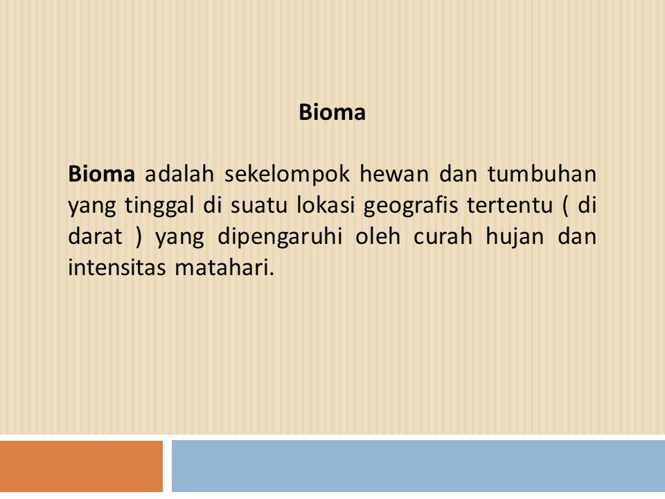 Bioma Bioma adalah sekelompok hewan dan tumbuhan yang tinggal di suatu lokasi geografis tertentu ( di darat ) yang dipengaruhi oleh curah hujan dan in