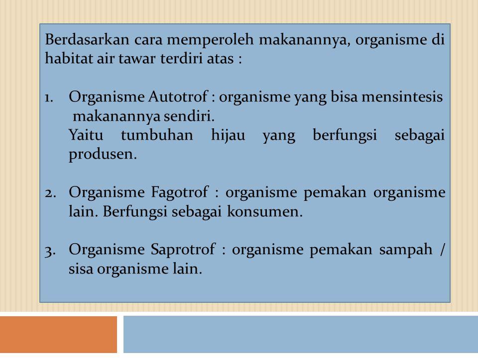 Berdasarkan cara memperoleh makanannya, organisme di habitat air tawar terdiri atas : 1.Organisme Autotrof : organisme yang bisa mensintesis makananny