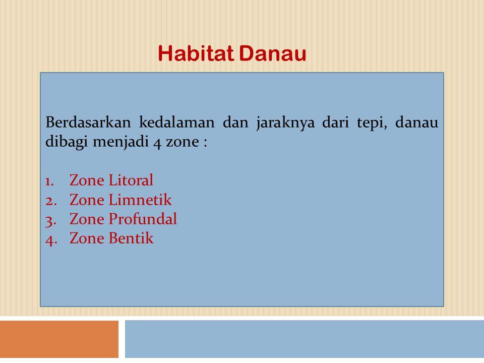 Berdasarkan kedalaman dan jaraknya dari tepi, danau dibagi menjadi 4 zone : 1.Zone Litoral 2.Zone Limnetik 3.Zone Profundal 4.Zone Bentik Habitat Dana
